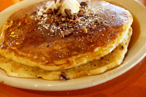Sweet Potato Pancakes with Maple Syrup and Candied Pecans. YUM.