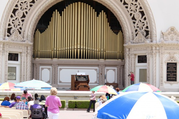 Spreckels Organ Pavillion. Patriotic fervor from the pipes. Soon to be the world's largest outdoor pipe organ.