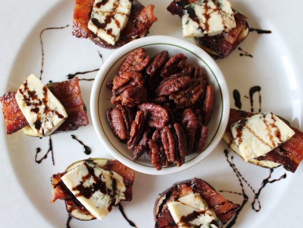 Remove figs from oven. Place on a platter and drizzle with balsamic syrup. Serve with a side of chili spiced pecans.