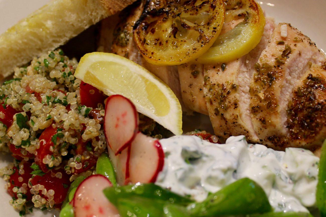 Lemon-Oregano Chicken and Quinoa Tabbouleh